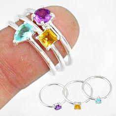 2.82cts natural blue topaz amethyst 925 silver stackable ring size 6.5 r79847