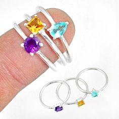 2.97cts natural blue topaz amethyst 925 silver stackable ring size 8 r79893