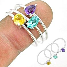 3.14cts natural blue topaz amethyst citrine 925 silver 3 rings size 9 t51490