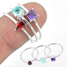 2.98cts natural blue topaz amethyst garnet 925 silver 3 rings size 8 t51003