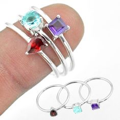 2.98cts natural blue topaz amethyst garnet 925 silver 3 rings size 5.5 t51160