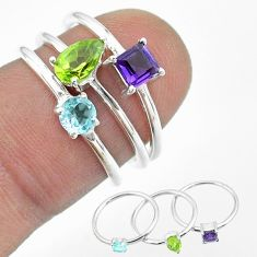 2.72cts natural blue topaz amethyst peridot 925 silver 3 rings size 6 t51058