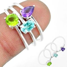 2.97cts natural blue topaz amethyst peridot 925 silver 3 rings size 6 t51143