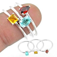 2.98cts natural blue topaz citrine garnet 925 silver 3 rings size 8 t51006