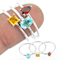 2.98cts natural blue topaz citrine garnet 925 silver 3 rings size 8 t51020