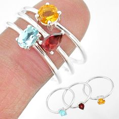2.81cts natural blue topaz citrine red garnet 925 silver 3 rings size 6 t17685