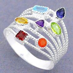 3.28cts natural blue topaz cornelian (carnelian) silver chakra ring size 7 t3781