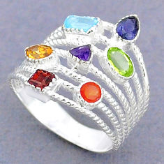 3.19cts natural blue topaz cornelian 925 silver chakra ring size 7.5 t3812