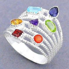3.42cts natural blue topaz cornelian 925 silver chakra ring size 8.5 t3814