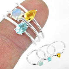 2.82cts natural blue topaz ethiopian opal citrine silver 3 rings size 8 t50969