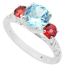 3.41cts natural blue topaz garnet 925 sterling silver ring jewelry size 8 t20329