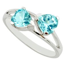 2.98cts natural blue topaz heart 925 sterling silver ring size 5.5 r25629