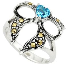 Natural blue topaz heart marcasite 925 sterling silver ring size 8 c26091