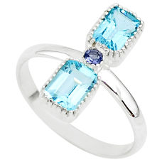3.45cts natural blue topaz iolite 925 silver handmade ring size 10 t5587