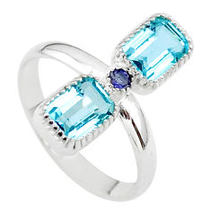 3.30cts natural blue topaz iolite 925 silver ring jewelry size 7 t34388