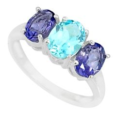 5.14cts natural blue topaz iolite 925 sterling silver ring jewelry size 8 r84086