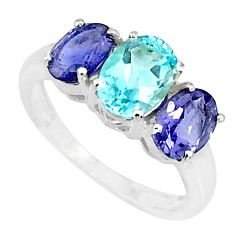 5.17cts natural blue topaz iolite 925 sterling silver ring jewelry size 8 r84087