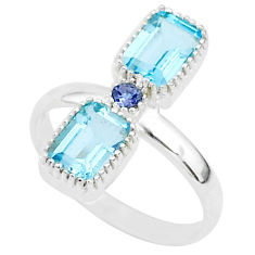 3.21cts natural blue topaz iolite 925 sterling silver handmade ring size 8 t5588