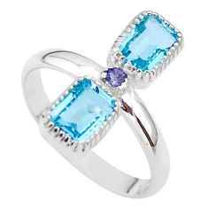 3.42cts natural blue topaz iolite 925 sterling silver ring size 7.5 t37864