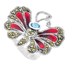 1.45cts natural blue topaz marcasite 925 silver butterfly ring size 7 c21382