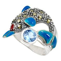 Natural blue topaz marcasite 925 silver dolphin ring jewelry size 8.5 c22920