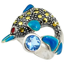 Natural blue topaz marcasite 925 silver dolphin ring jewelry size 6 c16102