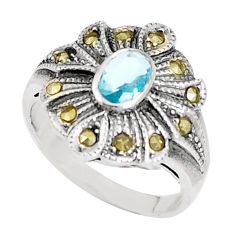 1.61cts natural blue topaz marcasite 925 silver ring size 5.5 a93599 c24872