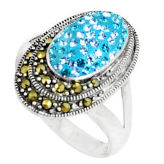 2.01cts natural blue topaz marcasite 925 silver ring size 7.5 a94580 c24891
