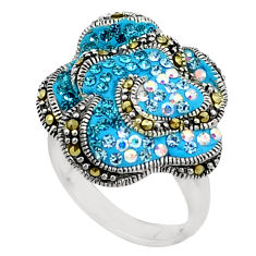 2.48cts natural blue topaz marcasite 925 silver ring size 6 a94548 c24935