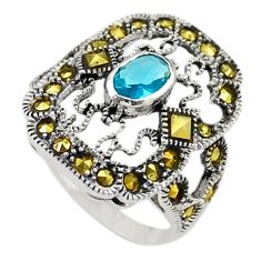 Natural blue topaz marcasite 925 sterling silver ring size 5.5 c17307