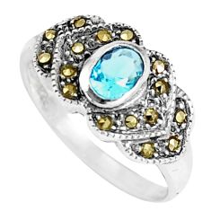 0.98cts natural blue topaz marcasite 925 sterling silver ring size 5.5 c22975