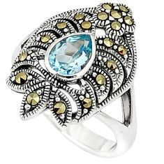 Natural blue topaz marcasite 925 sterling silver ring jewelry size 6.5 c26146