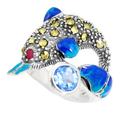 1.60cts natural blue topaz marcasite 925 silver dolphin ring size 7 c15929