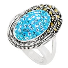 2.35cts natural blue topaz marcasite sterling silver ring size 5.5 a94593 c24892