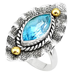 6.48cts natural blue topaz marquise shape 925 silver 14k gold ring size 7 t16051