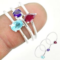 2.71cts natural blue topaz oval amethyst ruby 925 silver 3 rings size 7 t51137