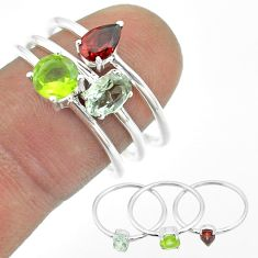 2.98cts natural blue topaz oval peridot garnet 925 silver 3 rings size 8 t51040