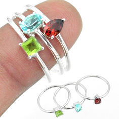 2.97cts natural blue topaz oval peridot garnet 925 silver 3 rings size 8 t51063