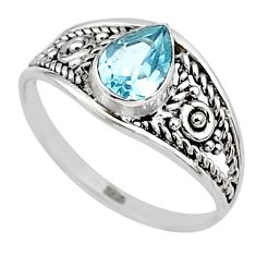 1.41cts natural blue topaz pear 925 silver graduation handmade ring size 6 t9483