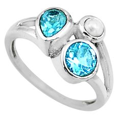 4.12cts natural blue topaz pearl 925 sterling silver ring jewelry size 9 r54505