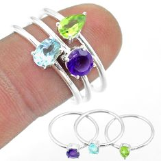 2.97cts natural blue topaz peridot amethyst 925 silver 3 rings size 8 t51028