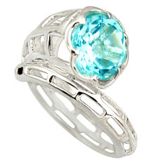 5.60cts natural blue topaz round 925 silver solitaire ring size 8.5 r25785