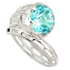 5.73cts natural blue topaz round 925 silver solitaire ring size 8.5 r25787