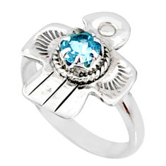 0.97cts natural blue topaz round 925 silver solitaire ring size 7 r67444