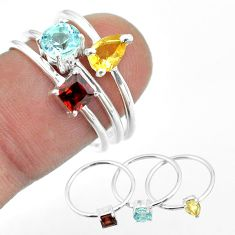 2.97cts natural blue topaz round citrine garnet 925 silver 3 rings size 7 t51095