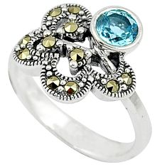 Natural blue topaz round fine marcasite 925 sterling silver ring size 6 c15764