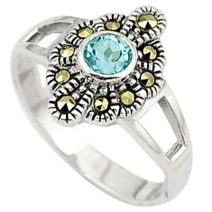 Natural blue topaz round marcasite 925 sterling silver ring size 6.5 c26156