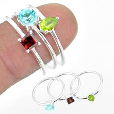 3.13cts natural blue topaz round peridot garnet 925 silver 3 rings size 8 t51067