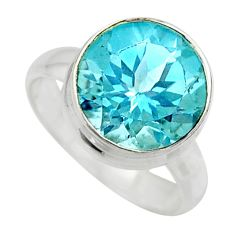 6.31cts natural blue topaz round sterling silver solitaire ring size 6 r49788