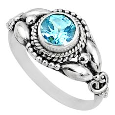 1.30cts natural blue topaz round sterling silver solitaire ring size 8 r64864
